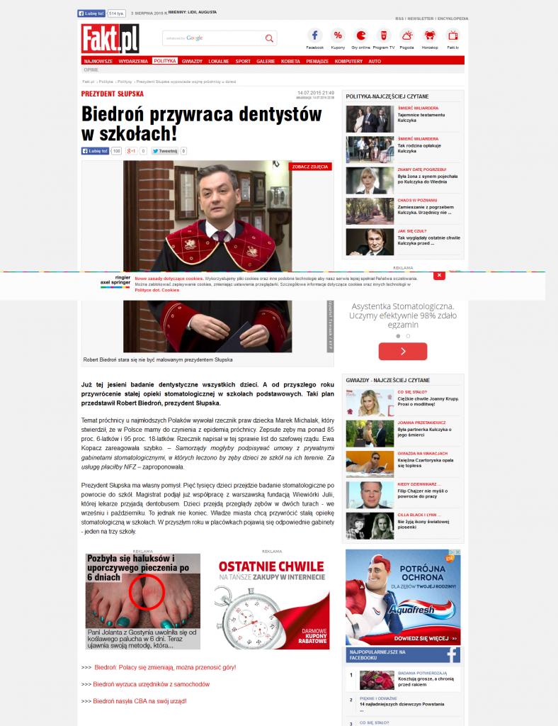 'Prezydent Słupska wypowiada wojnę próchnicy u dzieci' www_fakt_pl_